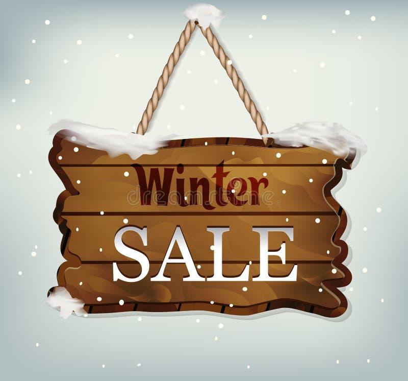 与文本冬天销售的垂悬的木标志 皇族释放例证