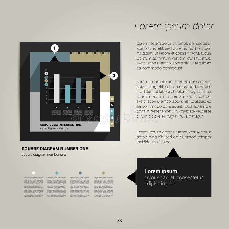 与文本和图表的现代平的页面设计 向量例证