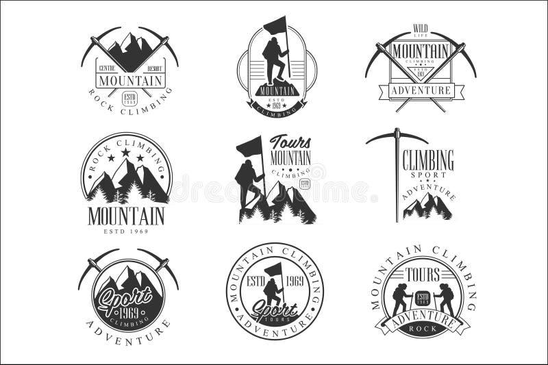 与文本和工具剪影的登山极端冒险游览黑白标志设计模板 库存例证