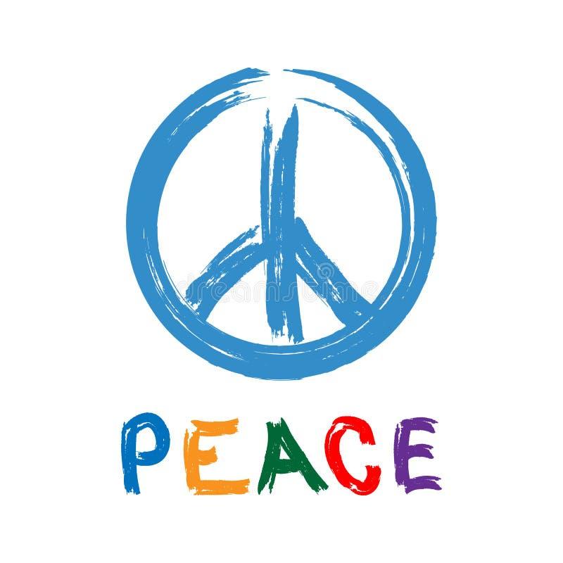 与文本和平的用手被画的太平洋的标志 水彩刷子,油漆,街道画 r 向量例证