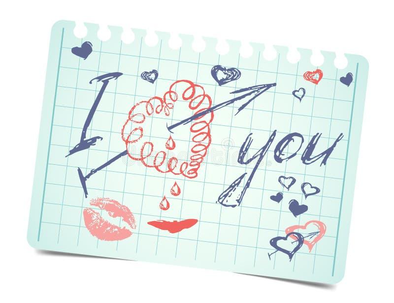与文本和心脏的笔记我爱你 向量 库存例证