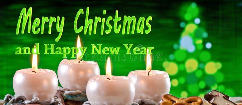 与文本圣诞快乐的出现花圈 免版税库存照片