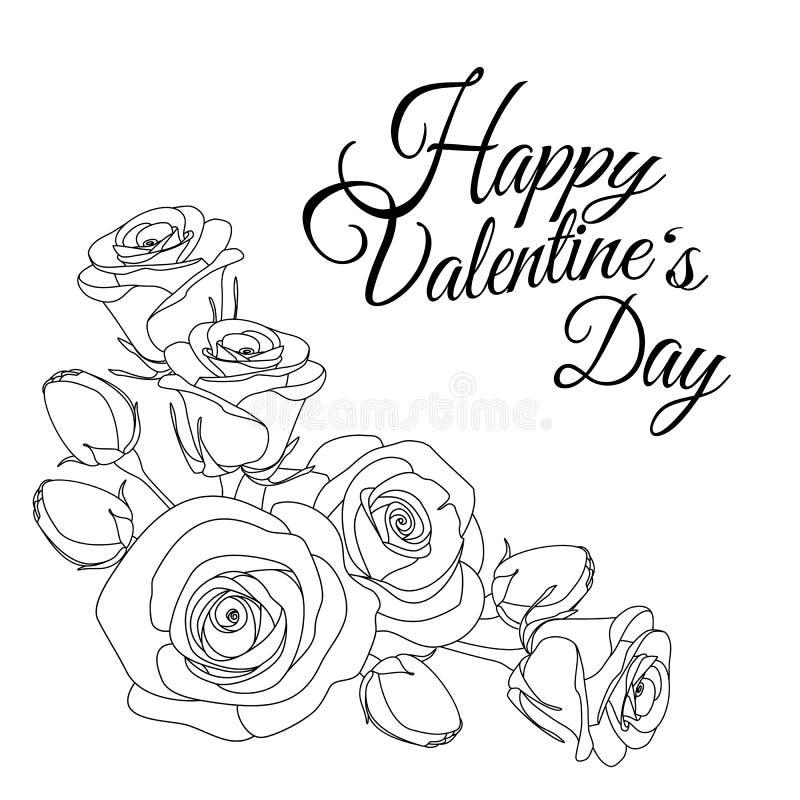 与文本愉快的情人节和玫瑰,成人的着色页,例证的贺卡 库存例证