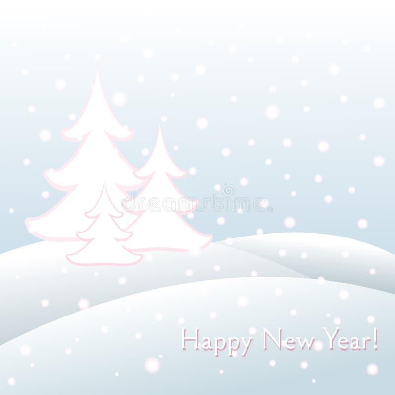 与文本新年快乐和圣诞节随风飘飞的雪,雪花,树冬天冷淡的风景的明信片 库存例证