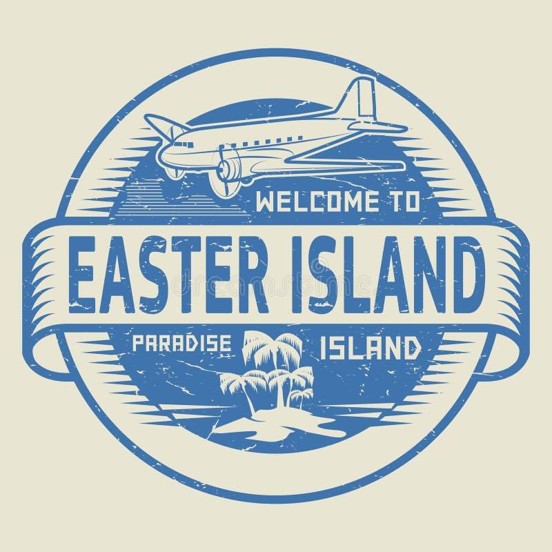 与文本欢迎的邮票向复活节岛,天堂海岛 库存例证