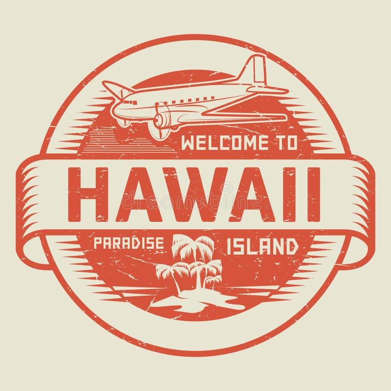 与文本欢迎的邮票向夏威夷,天堂海岛 库存例证