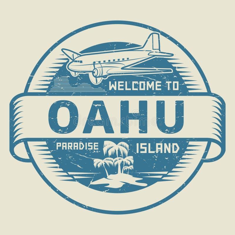 与文本欢迎的邮票向奥阿胡岛,天堂海岛 向量例证