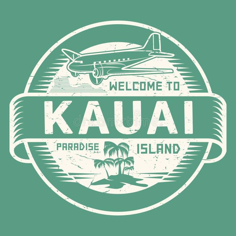 与文本欢迎的邮票向考艾岛,天堂海岛 库存例证