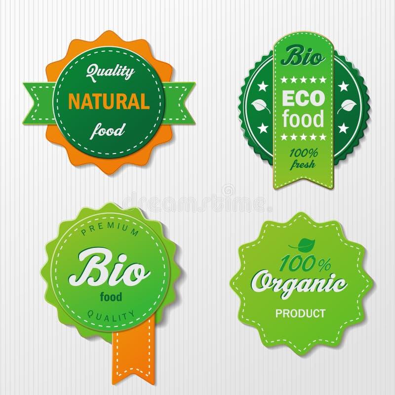 与文本的四个Biofood标签 向量例证