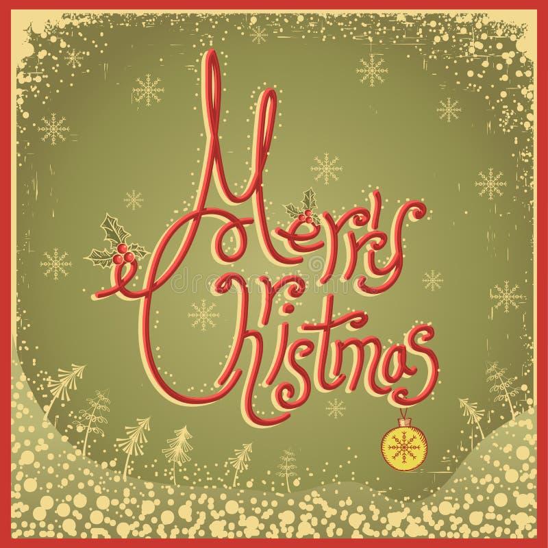 与文本的圣诞快乐卡片。葡萄酒传染媒介illu 皇族释放例证