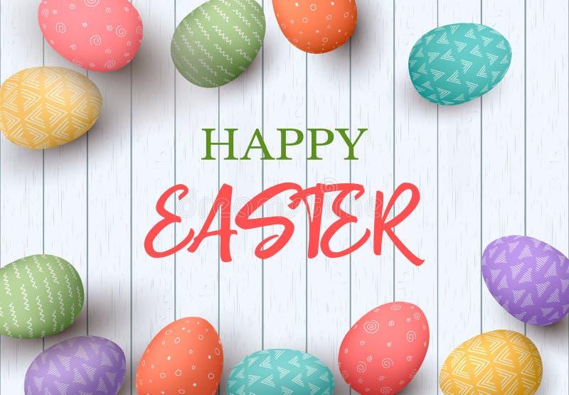 与文本的愉快的复活节彩蛋框架 在空白木背景的五颜六色的复活节彩蛋 您的设计 向量例证