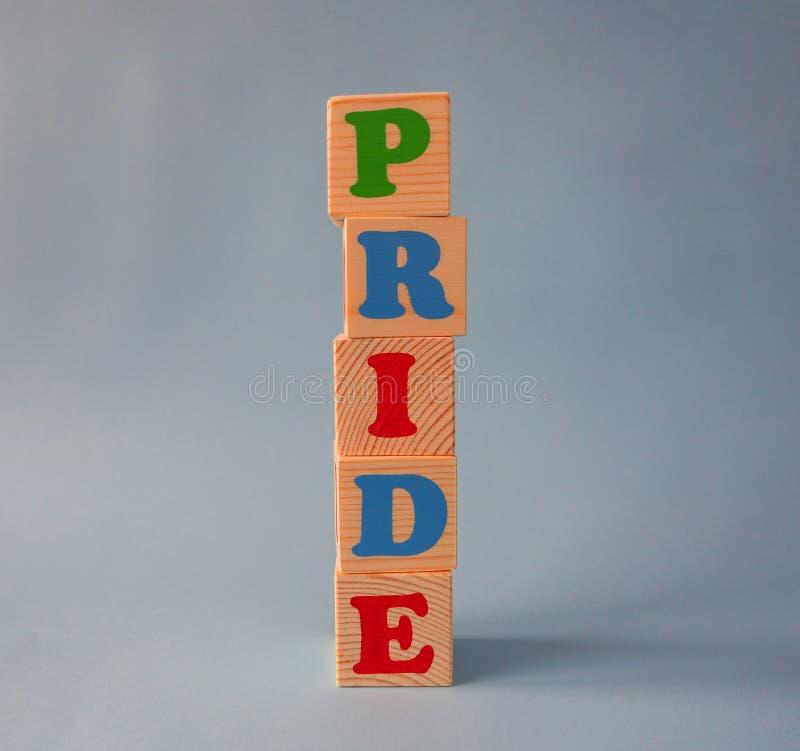 与文本的木字母表ABC玩具块:自豪感 在蓝色背景的被隔绝的孩子字母表立方体与拷贝空间 库存照片