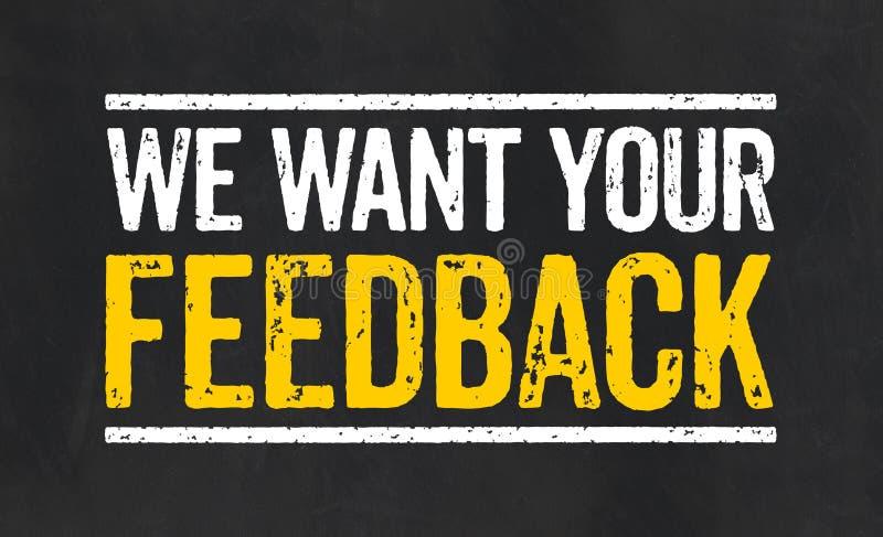 与文本的标志我们想要您的反馈 库存例证
