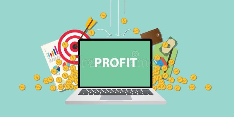 与文本的营业利润例证在与企业象金钱落从天空和图表的金币的膝上型计算机显示 向量例证