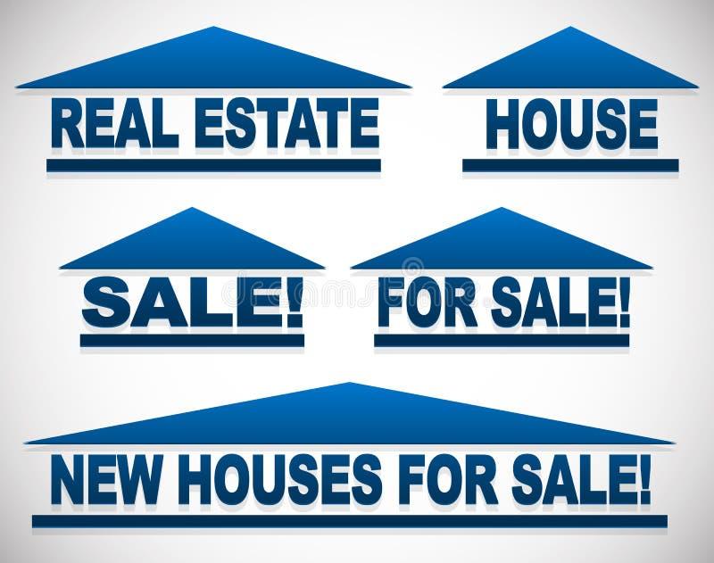 与文本的象房地产概念的-为销售签署房子 库存例证