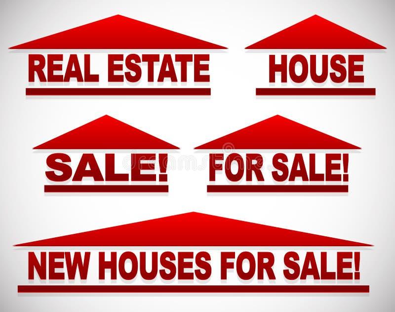 与文本的象房地产概念的-为销售签署房子 向量例证