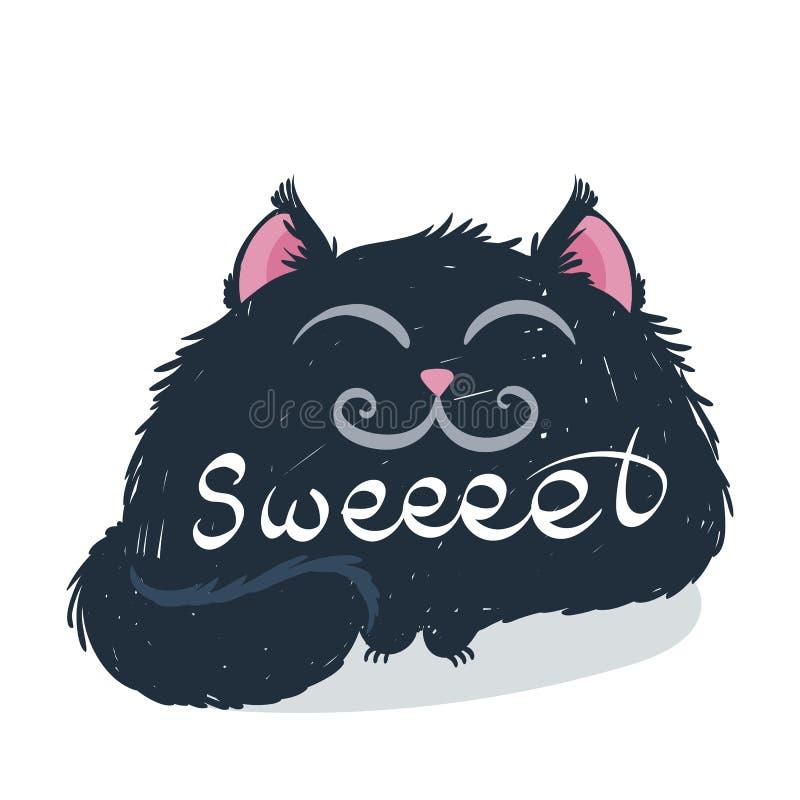 与文本的逗人喜爱的妖怪小猫 T恤杉和印刷品设计的传染媒介例证 皇族释放例证
