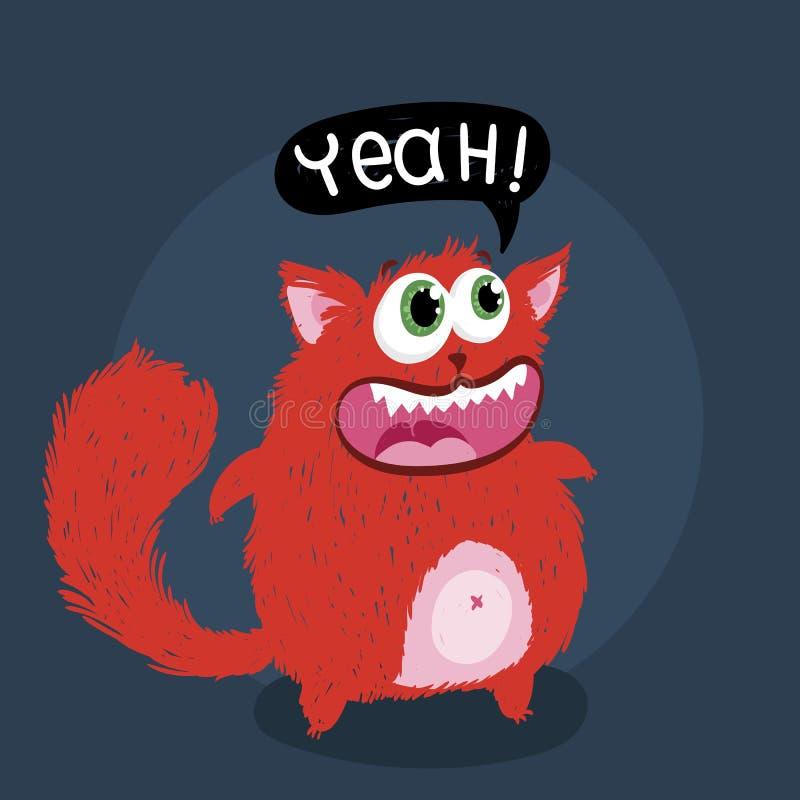 与文本的逗人喜爱的妖怪小猫 T恤杉和印刷品设计的传染媒介例证 库存例证