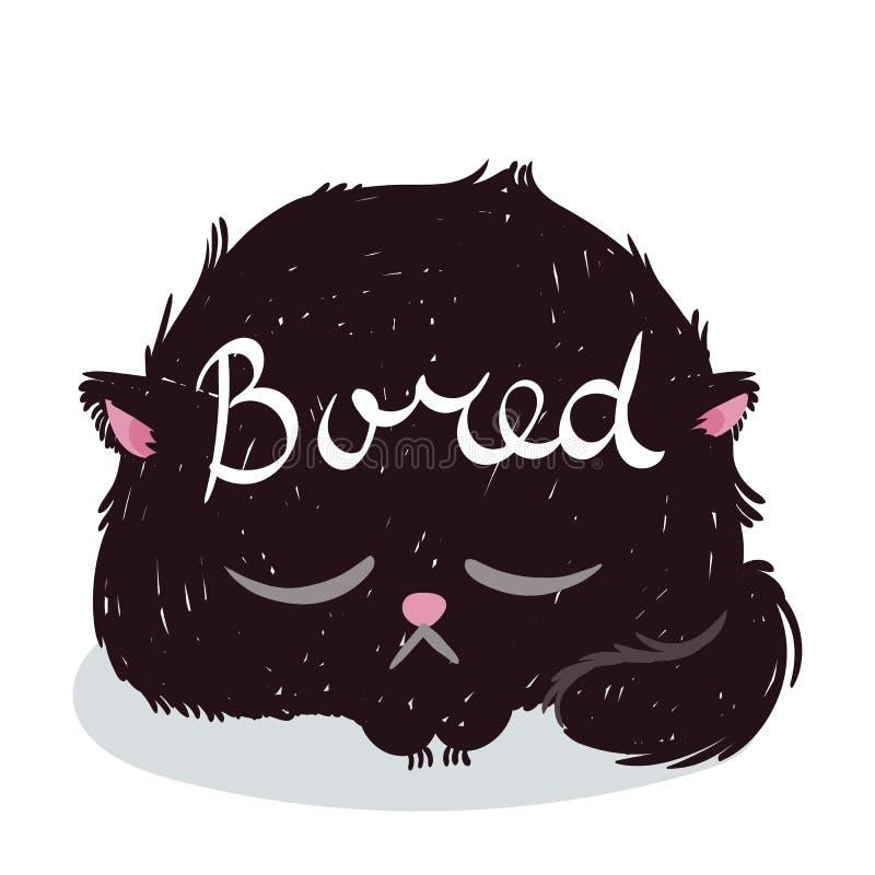 与文本的逗人喜爱的妖怪小猫 T恤杉和印刷品设计的传染媒介例证 向量例证