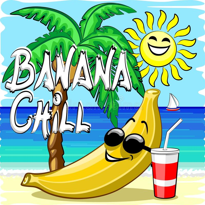 与文本的香蕉寒冷的愉快的夏天漫画人物 库存例证