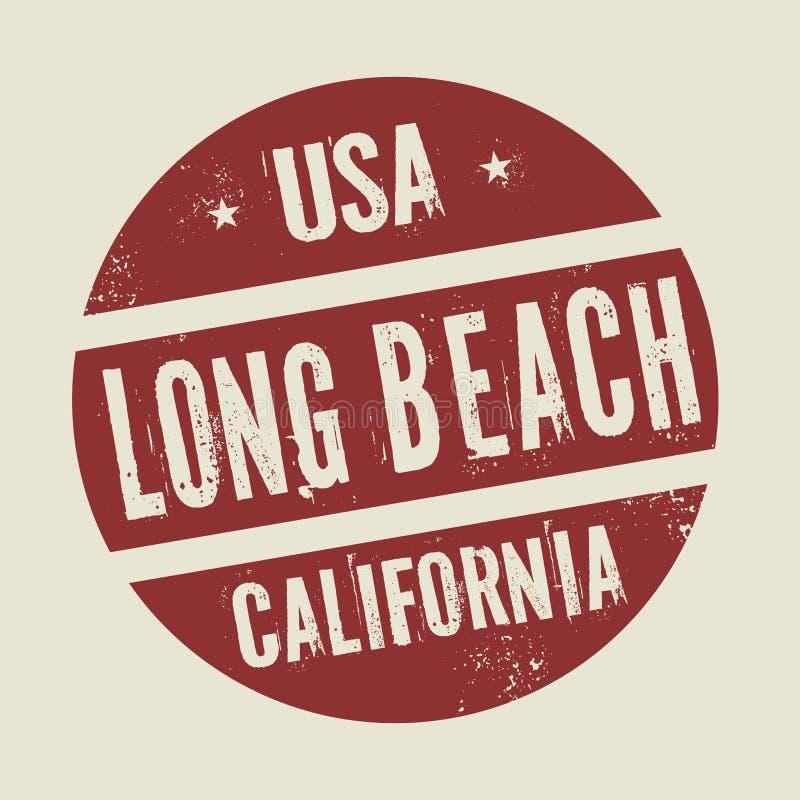 与文本长滩,加利福尼亚的难看的东西葡萄酒圆的邮票 向量例证