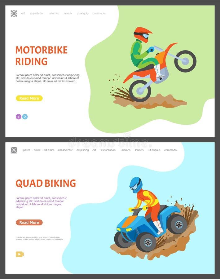 与文本集合的摩托车和方形字体骑自行车的网页 向量例证