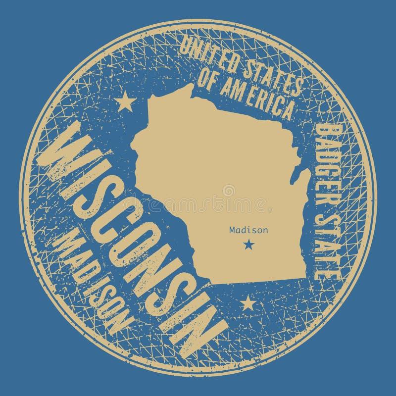 与文本麦迪逊,威斯康辛的难看的东西葡萄酒圆的邮票 库存例证