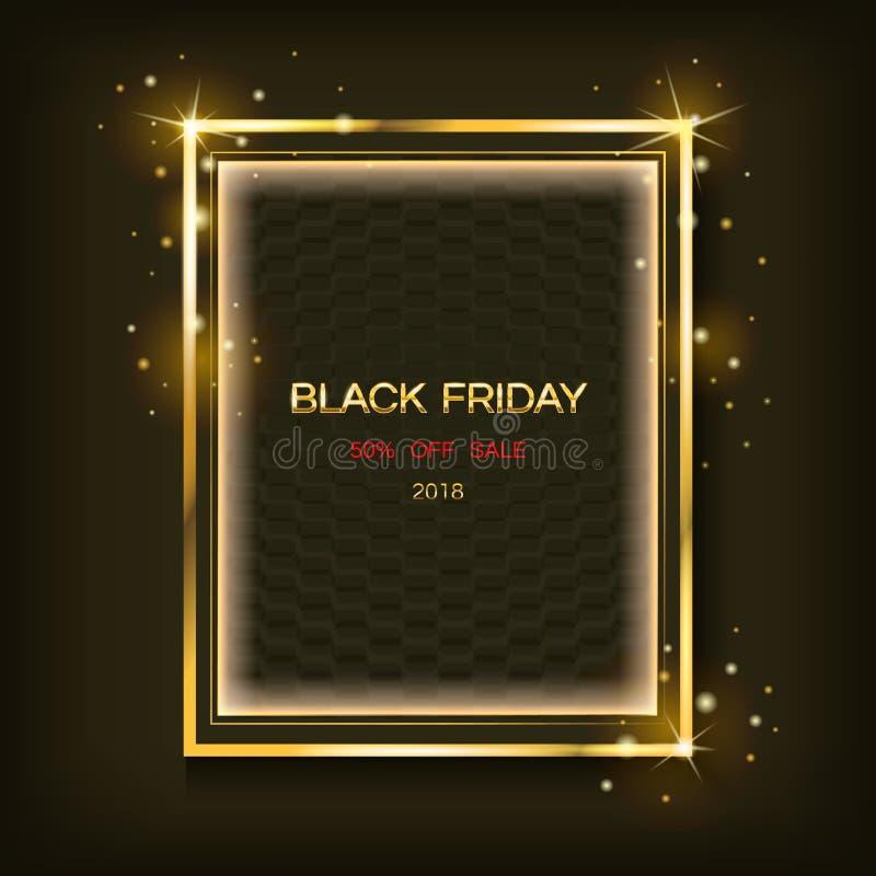 与文本黑星期五销售横幅的金闪耀的方形的框架 向量海报 向量例证