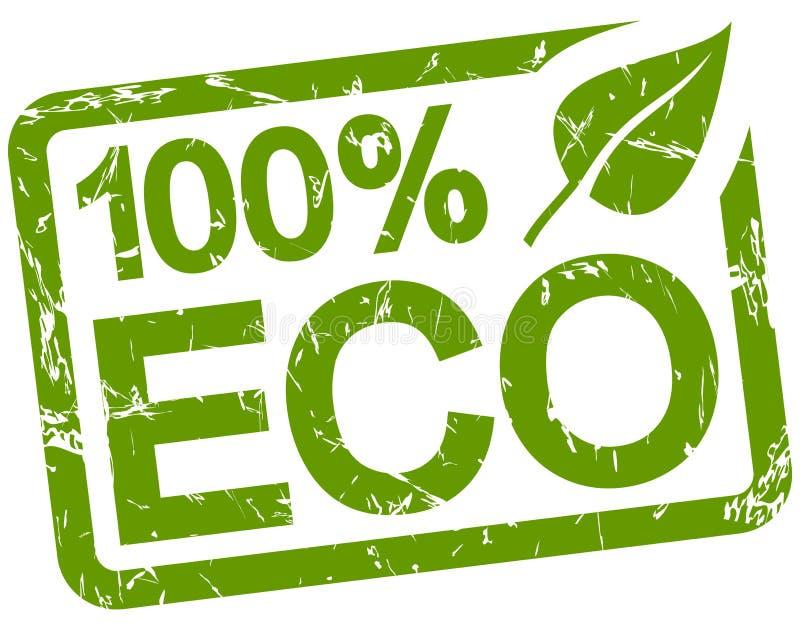 与文本100% ECO的绿色邮票 皇族释放例证
