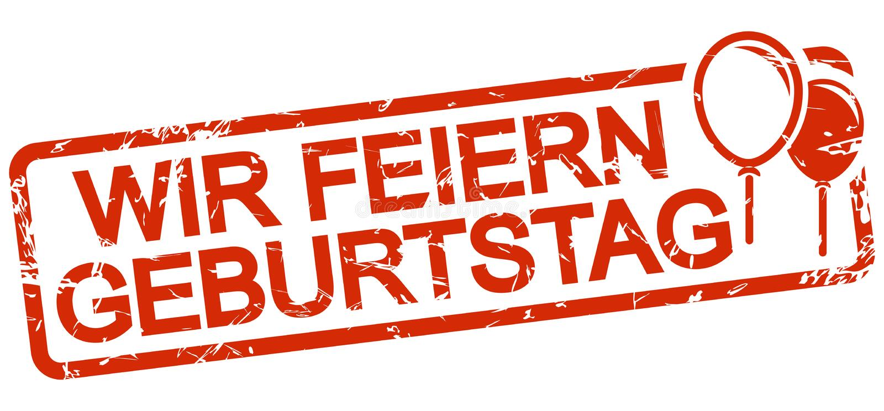 与文本Wir feiern Geburtstag的红色邮票 库存例证