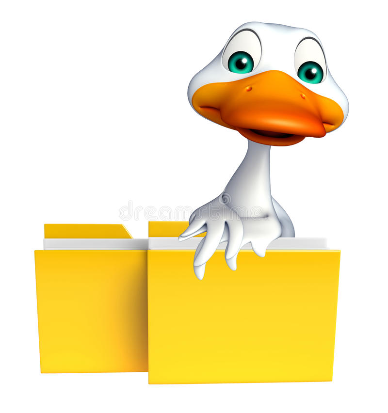 与文件夹的逗人喜爱的鸭子漫画人物 皇族释放例证