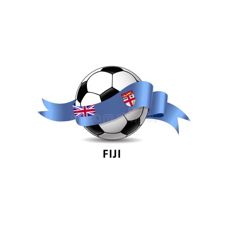与斐济国旗五颜六色的足迹的橄榄球球 库存照片