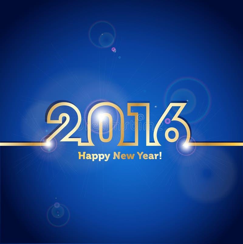 2016年与斑点光线影响的新年快乐蓝色背景 皇族释放例证