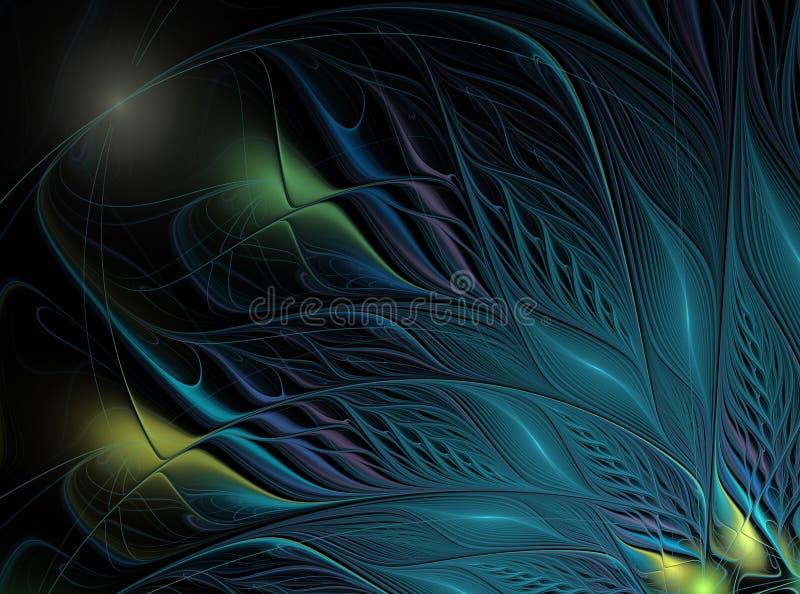 与斑点的五颜六色的蓝色羽毛在黑暗的背景 免版税库存照片