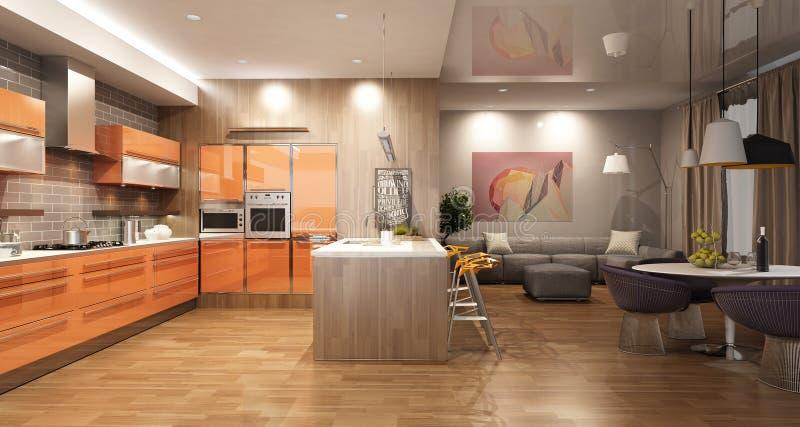 与斯堪的纳维亚样式的橙色厨房团结的客厅现代内部 库存例证