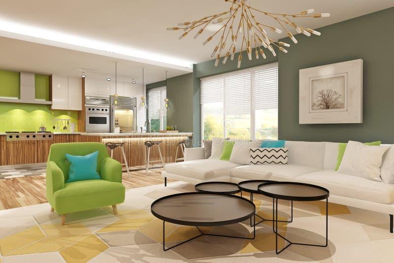 与斯堪的纳维亚样式的绿色厨房团结的客厅现代内部 向量例证