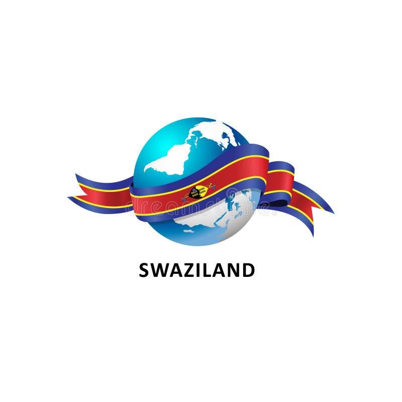 与斯威士兰旗子的世界 库存照片