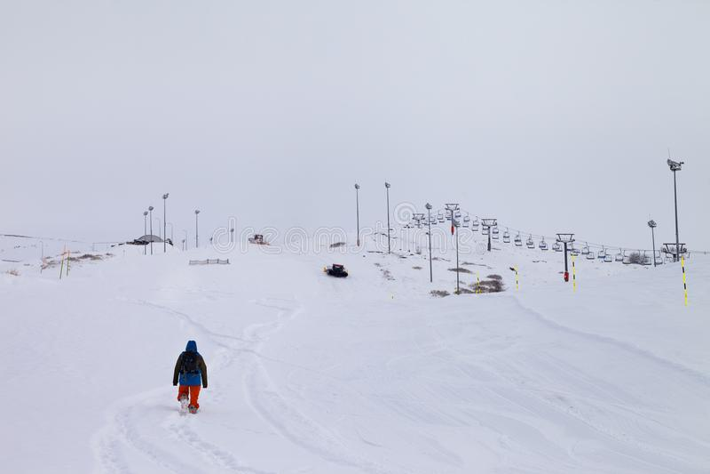 与新下落的雪的滑雪倾斜在飞雪以后 免版税库存图片