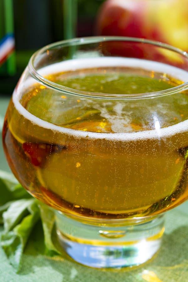 与新冷的法国苹果汁饮料的玻璃服务用苹果在绿色庭院里 库存照片