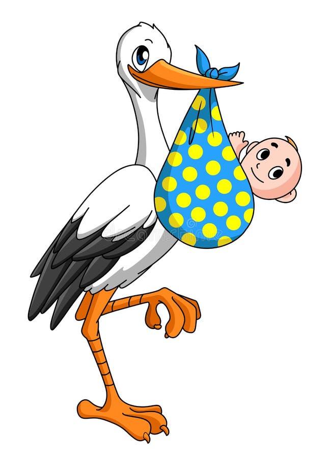 与新出生的婴孩的鹳 库存例证