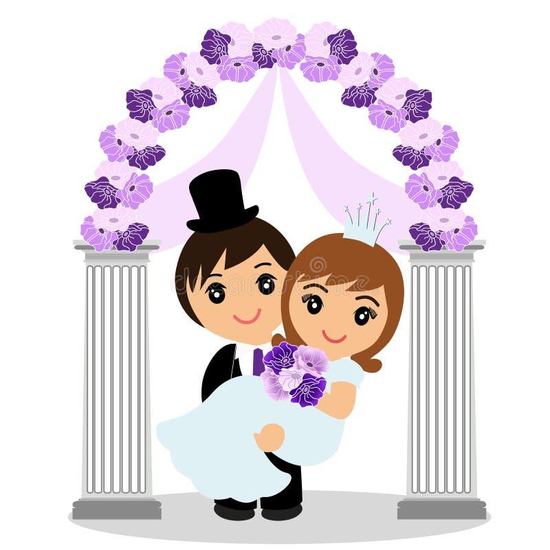 与新娘和新郎的婚礼曲拱 皇族释放例证
