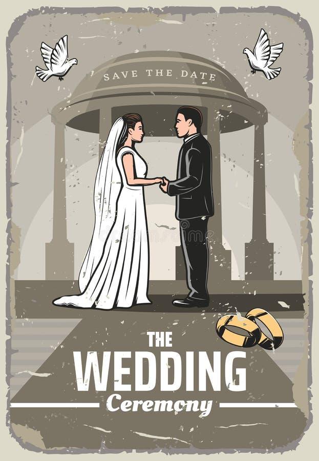 与新娘和新郎的婚礼邀请减速火箭的卡片 库存例证