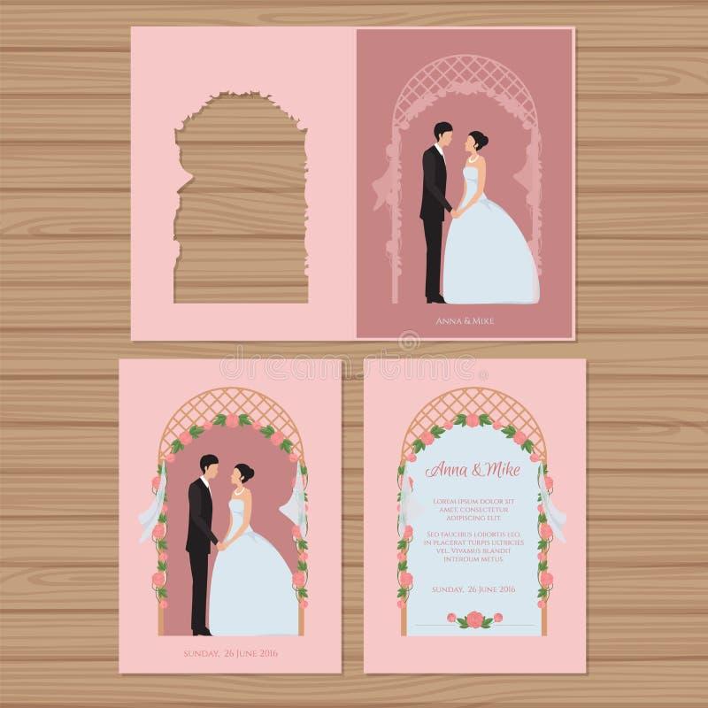 与新娘和新郎的婚礼邀请在背景 库存例证