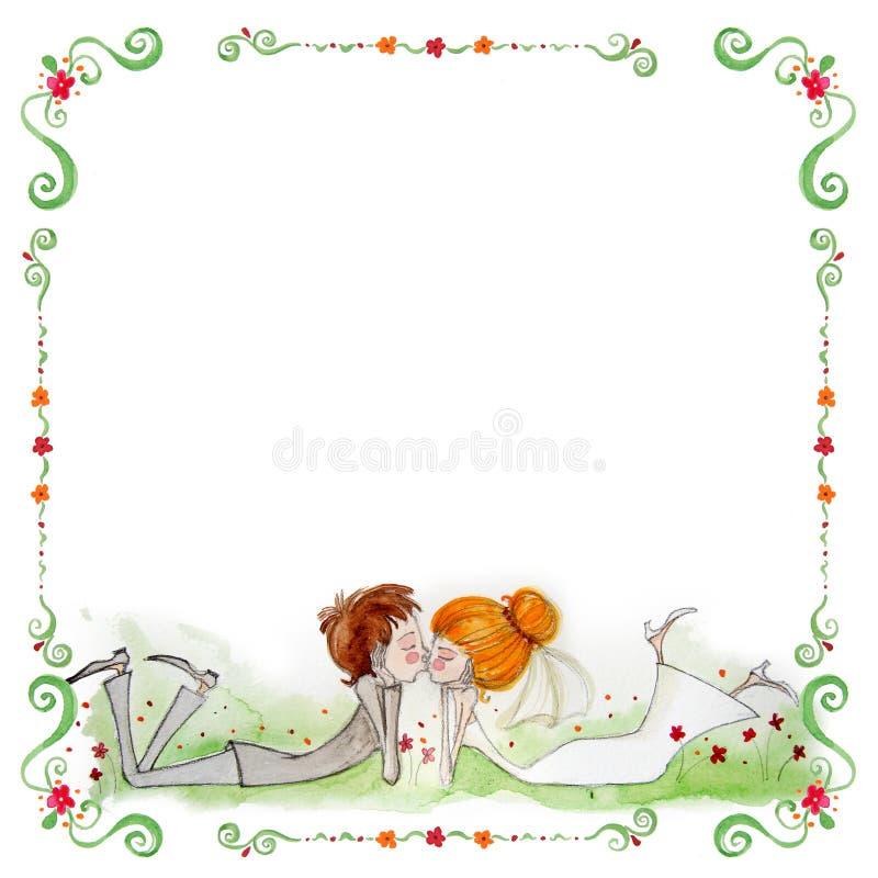 与新娘和新郎的水彩例证 库存照片