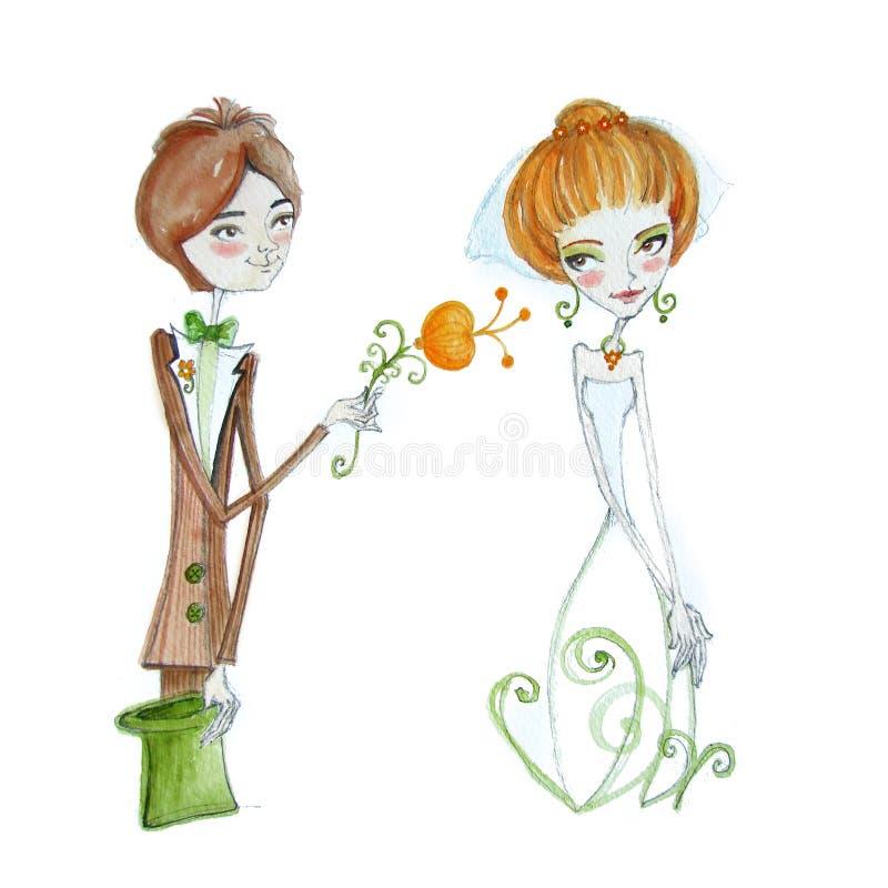 与新娘和新郎的水彩例证 免版税图库摄影