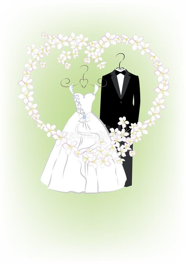 与新娘和新郎衣裳的婚礼邀请 向量例证