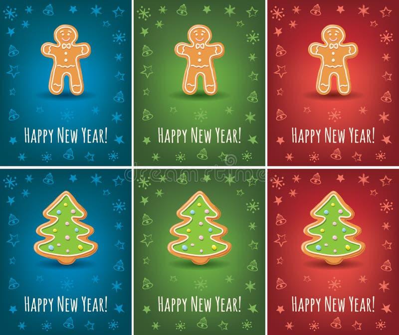 与新年快乐题字和姜饼圣诞树的贺卡 向量例证