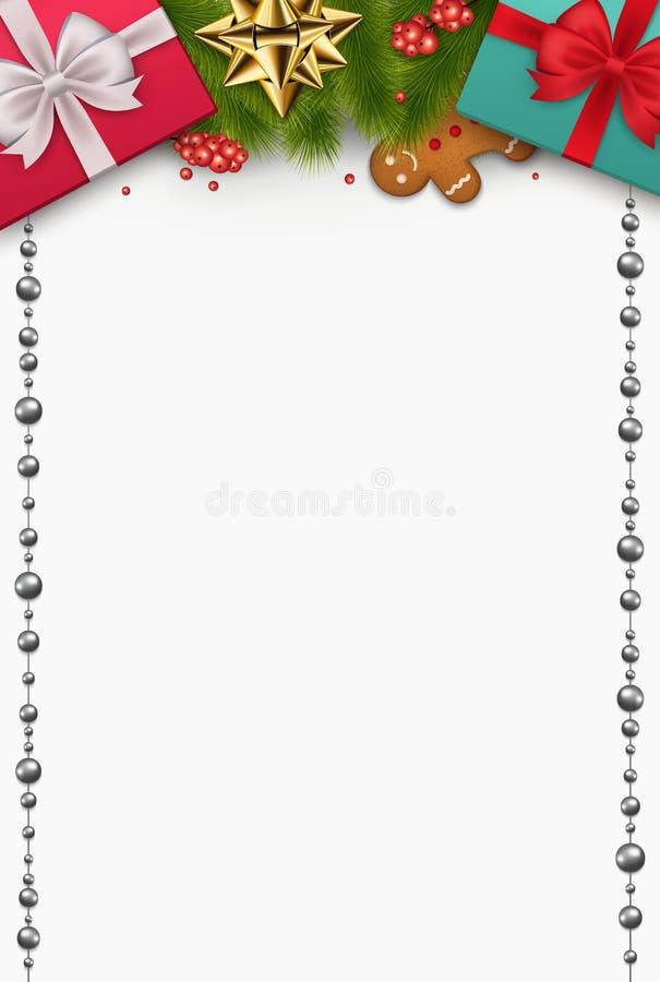 与新年` s礼物的圣诞节构成,杉木分支 向量例证