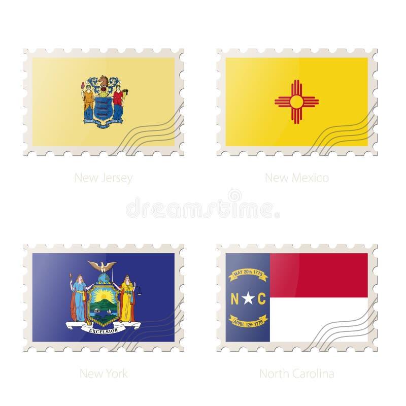与新泽西,新墨西哥,纽约,北卡罗来纳的图象的邮票状态旗子 向量例证