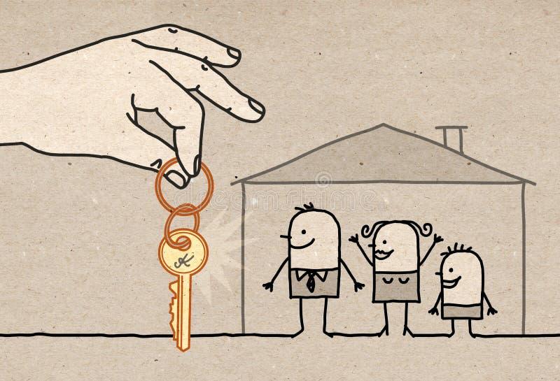 与新的家的大手家庭 向量例证